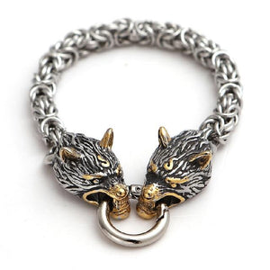 Stainless Steel Nordic DOUBLE WOLF Head ANIMAL SPIRIT King Chain Bracelet