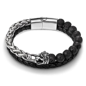 Stainless Steel , Lava Stone & Leather EAGLE / WOLF/ SKULL/ LION SPIRIT Charm Bracelet