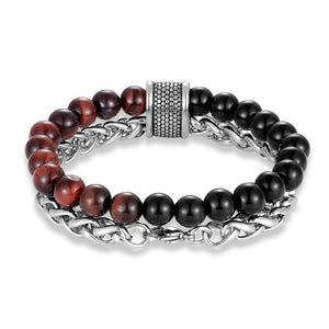 STIMULATING RED TIGER EYE Stone & Stainless Steel '2 in 1' Layered Men's Bracelet
