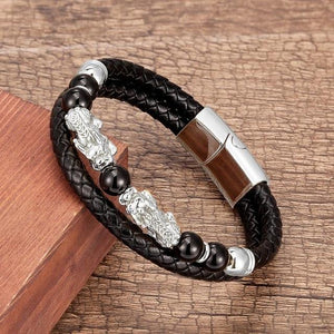 Stainless Steel , Leather & Natural Stone Feng Shui PIXIU for ABUNDANCE Bracelet-10 Variants