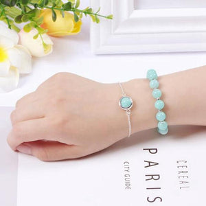 Stainless Steel & High Quality 8mm Natural Gemstone 2 pc Bracelet Set