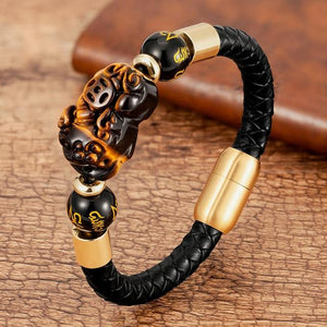 Steel , Leather & Tiger Eye Stone Feng Shui PIXIU For GOOD FORTUNE Bracelet