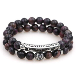 Luxury No Fade Titanium Steel Mauve/Blue/ Red/Gray/Green Tiger Eye Stone UBER PROTECTION 2pc Bracelet Set