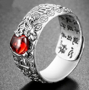 Natural  Garnet & 925 Sterling Silver LUCKY PIXIU OM Mantra Ring