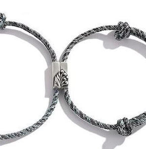 2 pcs Sterling Silver 'WHERE THE MOUNTAIN MEETS THE SEA' Lovers Rope Bracelets