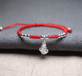 Sterling Silver PI XIU & Red Rope LUCK ATTRACTION Bracelet