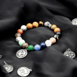 12 Constellation Stone Zodiac Stainless Steel charm Bracelet