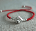 Sterling Silver&  Lucky Red Rope  3D Dog Lovers Bracelet