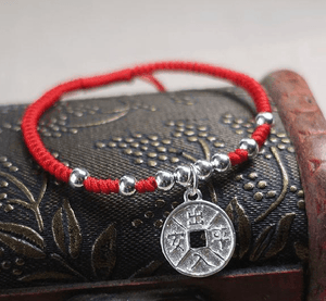 Sterling Silver LUCKY COIN Red Rope Bracelet