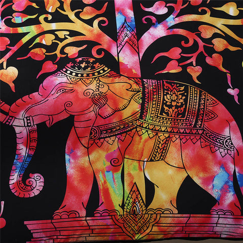 Feelyou Bohemian Elephant Duvet Cover Set Boho Tribal Exotic Comforter Cover for Man Woman Adults 3D Elephant Printed Bedding Set Indian Southwestern Quilt Cover,Room Decor 3Pcs Bedding Queen,Black