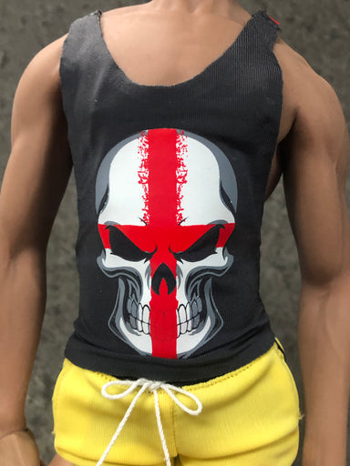 In-stock 1/6 Scale Y-Back Fitness Skull Vest Accessories