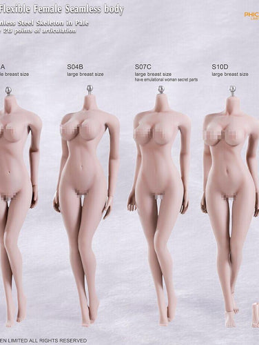 1/6 Phicen / TBleague stainless steel skeleton seamless female body 12'' inch - Skin tone: Pale