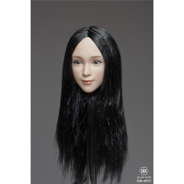 In-Stock 1/6 Scale QI AN TOYS DR-007 Female Head Sculpture Three Hairstyle