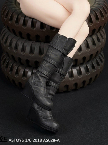 1/6 Scale ASTOYS AS028 Female Knee Combat Boots For Detachable Feet Phicen