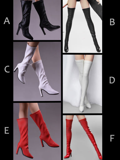 1//6 scale BLACK Boots PEG BASED for 12/'/' Female Figure Doll PHICEN