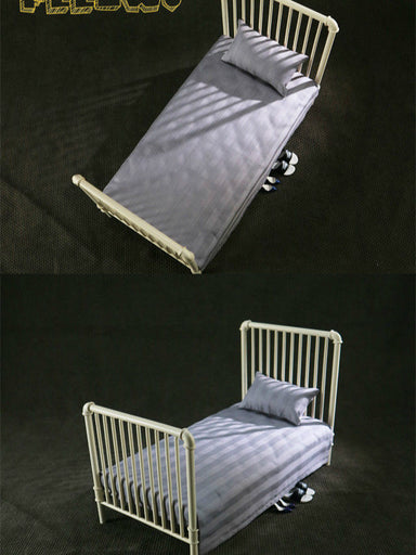 In-Stock 1/6 Scale FEELWOTOYS FW005 Metal Bed + WHITE Mattress For