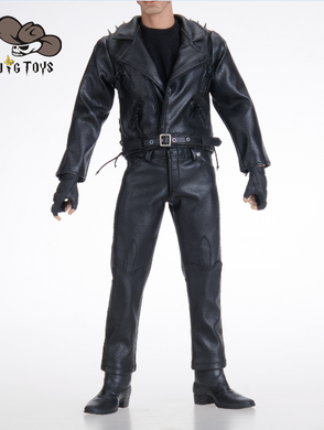 JG TOYS Custom Ghost Rider Johnathon Blaze Leather Outfit Custume for 12