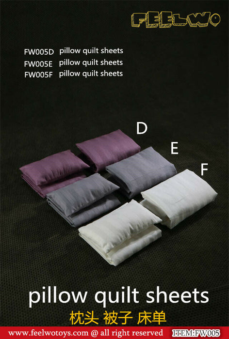 In-stock 1/6 Scale FEELWOTOYS FW005 Pillow Quit Sheets For 12'' figure