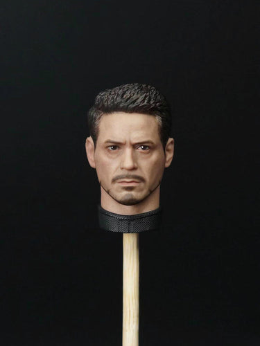 In-stock 1/9 Scale Tony Head Sculpt For Kingart Action Figure Parts