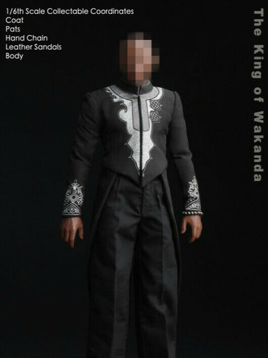 In-stock 1/6 DJ-CUSTOM Wakanda Black Panther King Costume Set W/Body