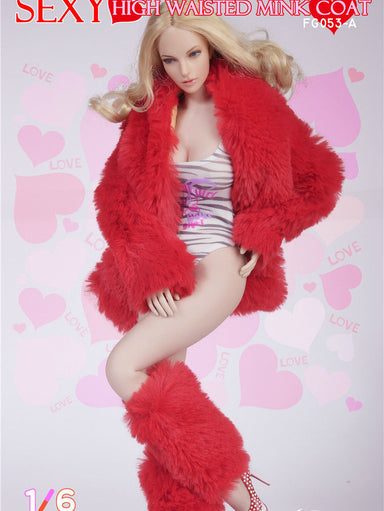 In-Stock 1/6 Scale Fire Girl FG053 Cony Hair Coat+swimsuit Set C