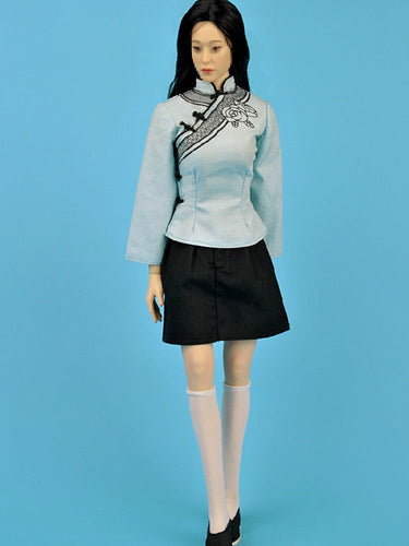 In-Stock ZYTOYS ZY5011 1/6 Scale Light Blue Chinese Skirt Suit For Seamless Body