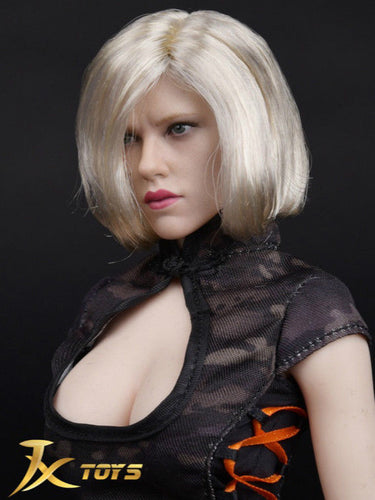 In-stock 1/6 Scale JXTOYS Natasha Head Sculpt Blond Short Hair 6.0 H#Suntan
