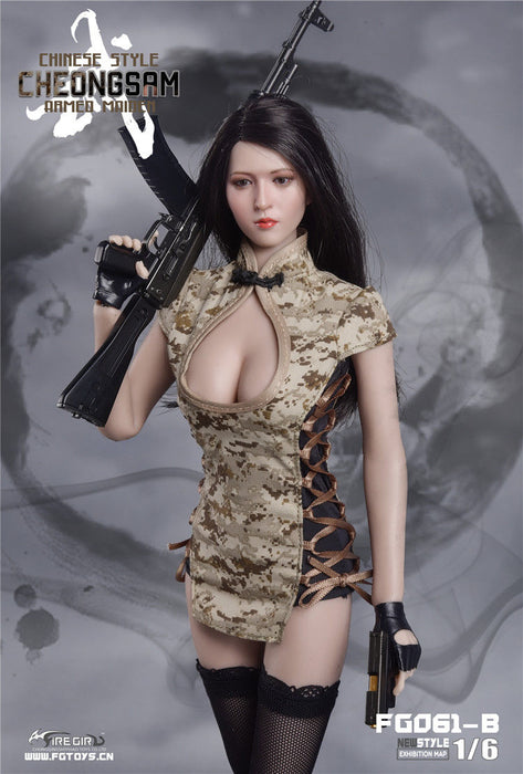 In-Stock 1/6 Scale Fire Girl FG061 Chinese Cheongsam Female Soldier Suit