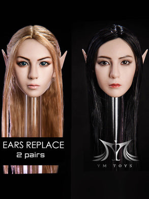 In-Stock 1/6 Scale YMTOYS Elf Replaceable Ears Female Head Sculpt H#Suntan
