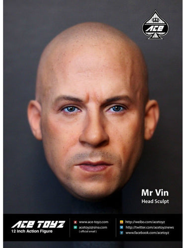 "1//6 Vin Diesel Head Sculpt Dom Fast /& Furious For 12/"" PHICEN Hot Toys Figure USA"