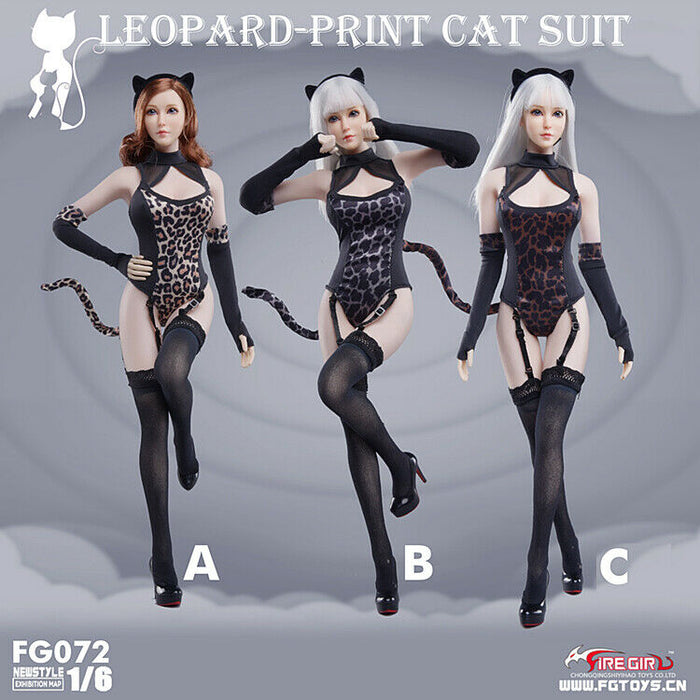 In-stock 1/6 Scale Fire Girl FG072 Leopard Pattern Conjoined Suit