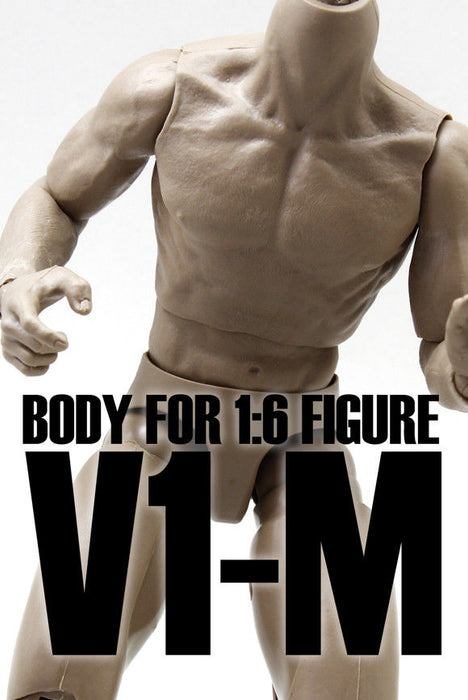 In-stock 1/6 Scale Male V1-M Dark Skin Tone BW/Neck Musclar Body