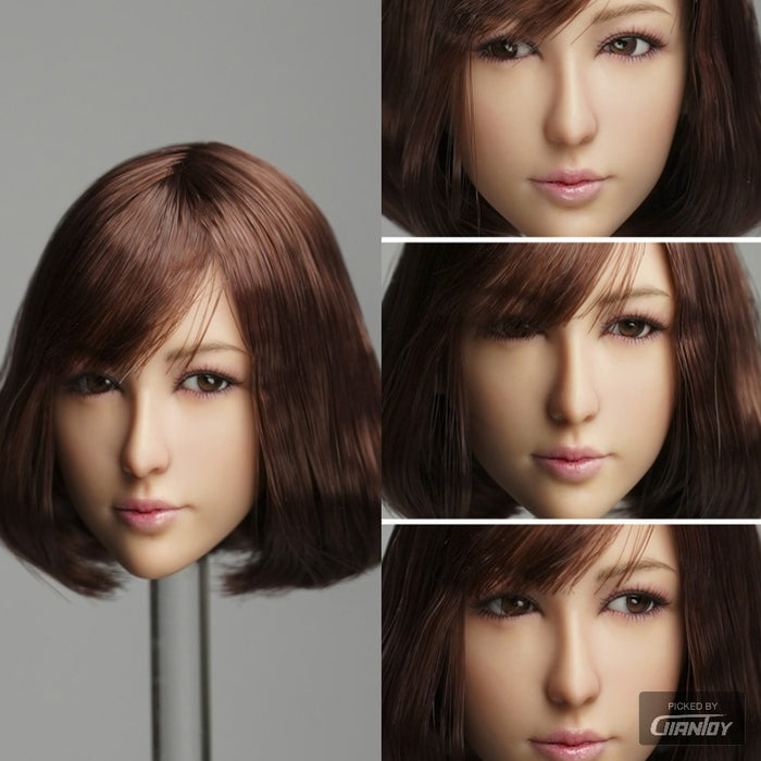 In-Stock 1/6 Scale QI AN TOYS DR-008 Head MOVABLE EYES Three Hairstyle