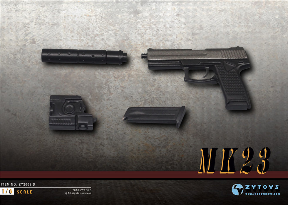 In-Stock 1/6 Scale MK23 SOCOM Pistol Weapon Gun Model ZY2009D