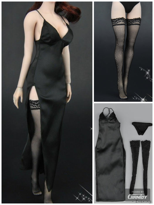 In-Stock 1/6 ZYTOYS ZY5025 Female Black Evening Dress Stockings Clothes Set