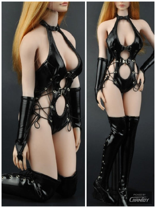 In-Stock 1/6 ZYTOYS ZY5009 Leather Lingerie Suit Boots Set