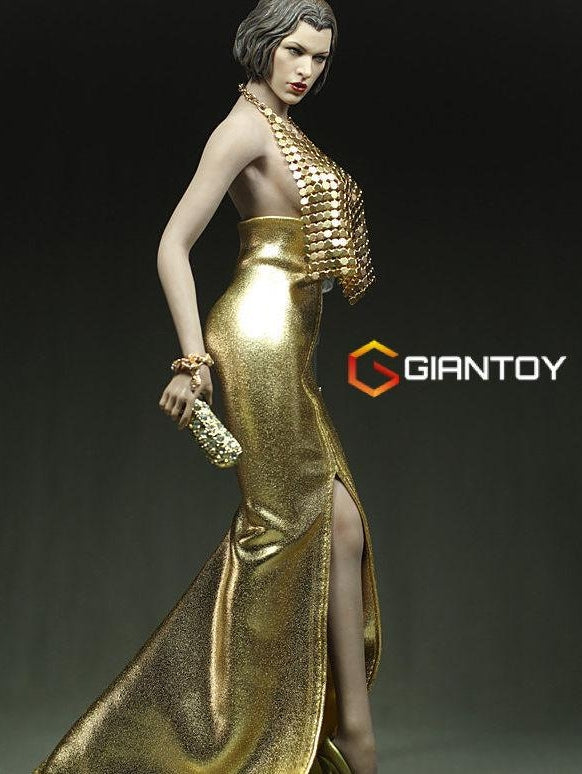 1/6 female tight sexy sequined evening dress for 12'' female action figures