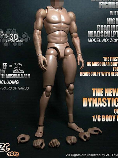 "ZCTOYS S005 1:6 Muscular Male Body Fit 12/"" Asian Male Figure Model Collection"