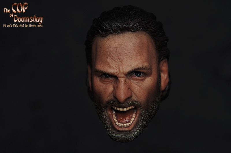 Custom 1/6 Scale Screaming Rick Grimes Head Sculpt The Walking Dead