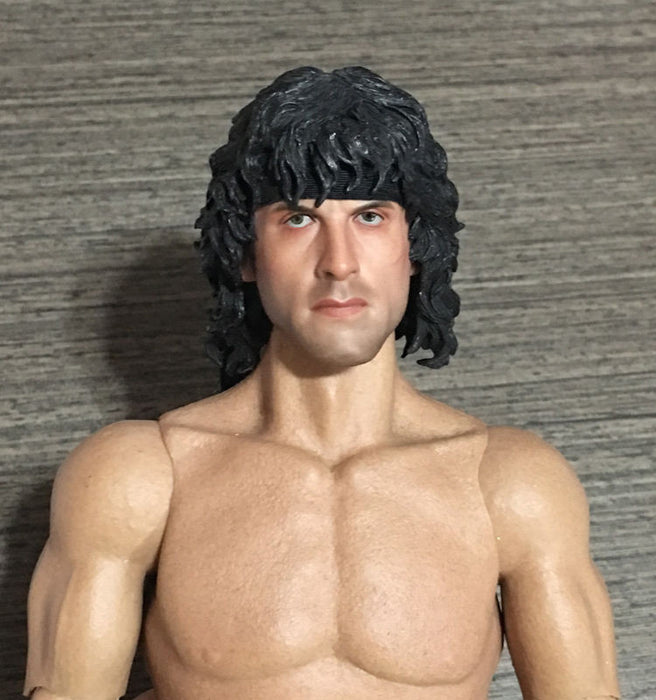 Custom 1/6 Scale Sylvest Stallone John Rambo Head Sculpt For Hot Toys & Ganghood Body