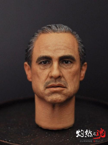Godfather 1/6 Scale Don Vito Corleone Marlon Brando Head Sculpt with cat