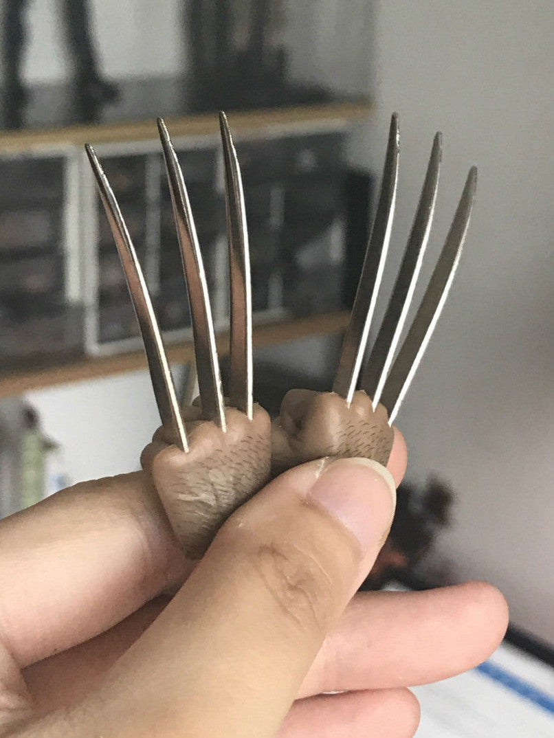 1/6 Metal Claw Hands Realistic Hair Fist Steel Talons Real Photo