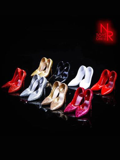 In-stock 1/6 NRTOYS Female Glitter High Heels NR12 Footwear For Seamless Bodies