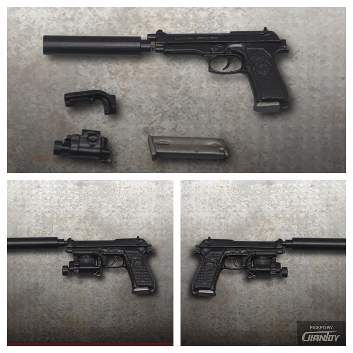 In-Stock 1/6 Scale M9 Handgun Black Pistol Gun Rifle Weapon ZY2009B