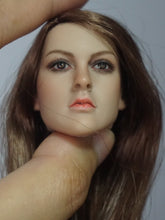 1/6 Head Sculpt for Caucasian Female with Brown Straight hair KT005 pale#