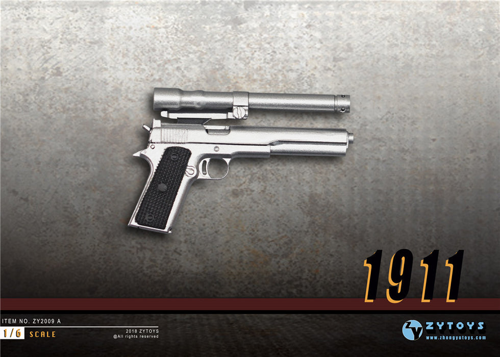 In-Stock 1/6 Scale M1911 Silver Pistol Gun Rifle Weapon ZY2009A