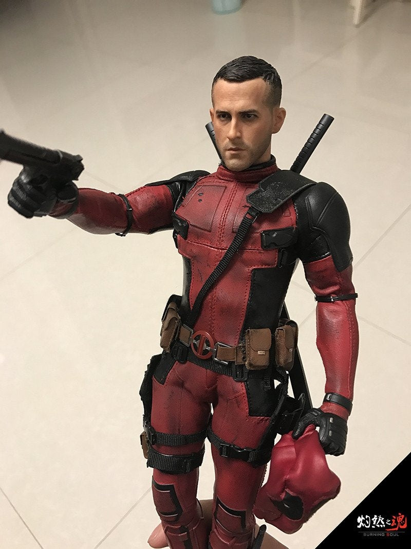 Burning Soul 1 6 Ryan Reynolds Deadpool Wade Wilson Head Play For Hot Toys Body