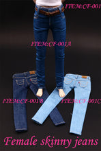 1/6 Denim Skinny Jeans for female action figure Phicen body 3 colors with belt