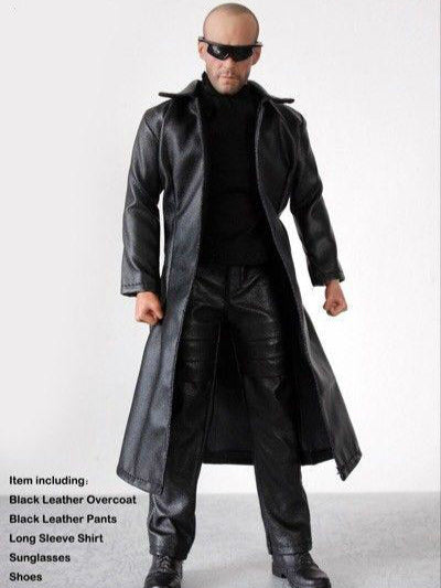 1/6 Dollsfigure Male Black Leather Jacket Clothes Set