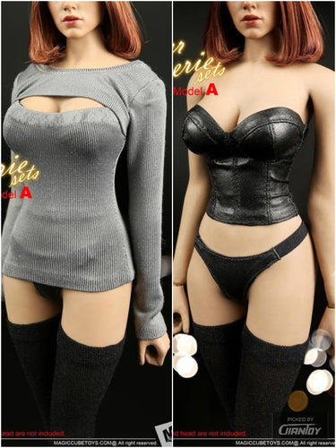 In-stock 1/6 Scale MC TOYS F-049 Female Leather  Lingerie Clothes Set A/B